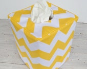 Yellow and White Chevron reversible tissue box cover
