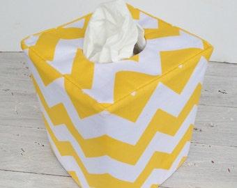 Yellow and White Chevron reversible tissue box cover