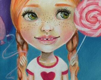 Candy Girl, Original painting, Ginger Haired Girl, Kim Turner Art, Cute Girl, Lowbrow Art