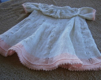 Baby White and Pink Hand Knitted Dress
