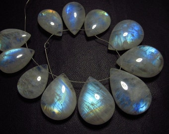 AAA - high grade quality - Amazing Flashy Blue Rainbow fire Rainbow moonstone Smooth pear briolett Huge size - 11.5x17.5 - 16.5x24 mm 11pcs