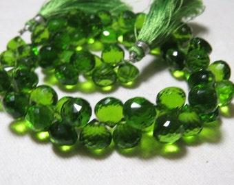 9.5 inches -  Amazing - Gorgeous - Green Peridot  Colour- Quartz Super Sparkle - Faceted Onion  Shape Briolett Huge Size - 9 - 9.5 mm Long