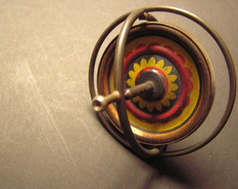 Vintage Gyroscope,Dandy patented March 13, 1918,  vintage toy top, metal Gyroscope, kids vintage toy