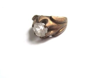 Deco Ring W/ Clear Stone - Size 10