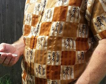 Men's Handmade Woven Indian Sari Silk Button Down Dress Shirt - Tribal Woman on Brown Blocks - Kobieta H826