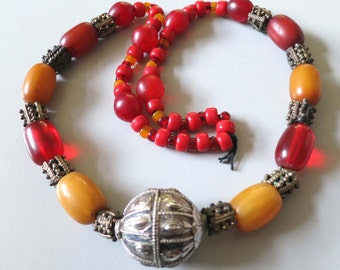 Great old Yemen Bedouin Middle Eastern necklace with silver granulated beads and faux amber beads.