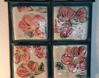 Ceramic Tile Wall Hanging in Metal Frame Displaying 4 Hand Painted FlowerTiles