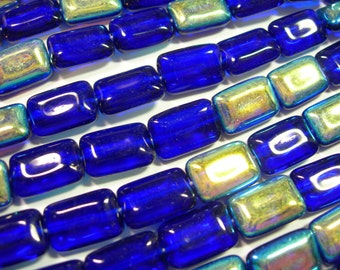 Czech Glass Cobalt Blue AB Rectangles 8x12mm - 24 beads