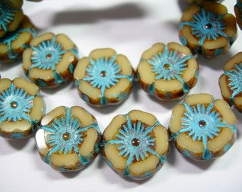12 beads -Ivory Turquoise Wash Czech Glass Flower Beads 12mm