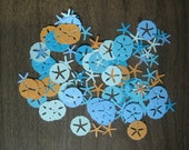 Reclaimed paper confetti sand dollars and starfish - orange mix