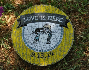 Celebrate weddings and anniversaries with a custom designed mosaic garden stepping stone