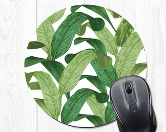 Mouse Pad Mousepad Coworker Gift for Coworker Gift for Her Mouse Pads Banana Leaf Office Desk Accessories Banana Leaves Office Supplies