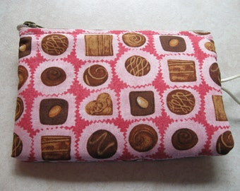 box of chocolates print padded makeup jewelry bag