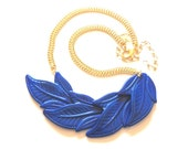 Leaf Necklace, Blue Necklace, Gold Chain Bib Necklace, Retro Necklace, Autumn Leaves Necklace, Something Blue, Bib Necklace Statement