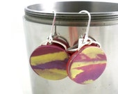 Unique dangle earrings of polymer clay gorgeous colors