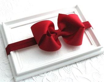 Cranberry / Burgundy Bow Headband, Large Hair Bow Headband, Thanksgiving Hair Bow, Baby Headband, Newborn Headband, Bow Headband