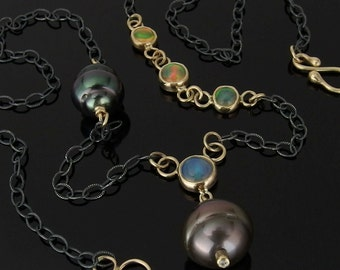Tahitian Pearl, Ethiopian Opal, 14k Gold and Sterling Silver Necklace, Tahitian Pearl Necklace, Ethiopian Opal Necklace