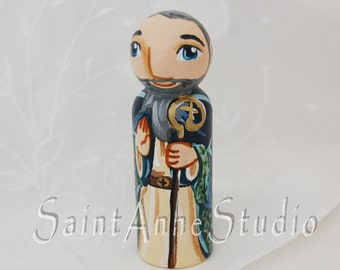 Saint Declan of Ardmore Catholic Saint Doll - Wooden Toy - Made to Order