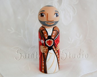 St Augustine of Hippo Catholic Saint Doll - Peg Toy - Made to Order