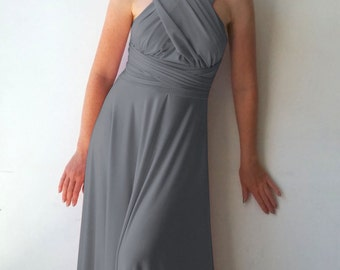 Convertible/Infinity Dress - floor length with long straps in middle gray color wrap dress