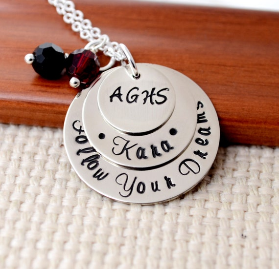 Personalized Graduation Necklace, Senior Necklace, Class of 2015, High School, College, Gift, Graduation Cap Necklace, Hand Stamped Jewelry