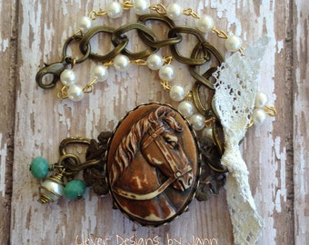 Country Chic Giddy Up Horse Bracelet . Clever Designs by Jann
