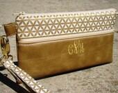 Gold Metallic Vegan Leather Wristlet w/Monogram, Smart Phone Bag, Custom Wristlets, Bridesmaids Gifts,  Phone Bags, Personalized Clutch