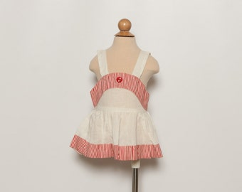 vintage 1940s baby girl's sundress - red and white striped dress