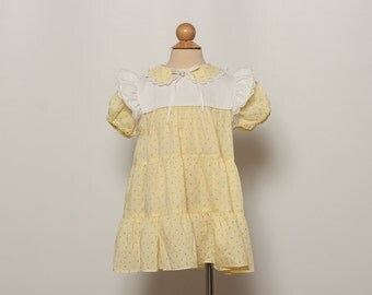 vintage 1970s toddler dress - yellow floral print girl's frock