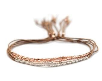 Delicate rose gold or Fine silver on Walnut silk bracelet - friendship bracelet