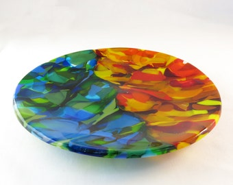 Semi-Circles Fused Glass Plate