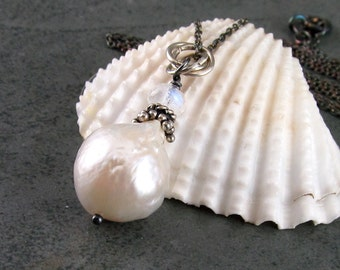 White baroque pearl pendant with rainbow moonstone, handmade sterling silver necklace-OOAK