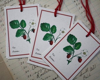 6 Strawberry Gift Tags, Set of 6, on Recycled Cream Flecked Cardstock with Jute String