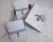 Wedding Vow Book Set - Gray -Heart- Wedding -with Key & Lock accents- Matching Keepsake Box
