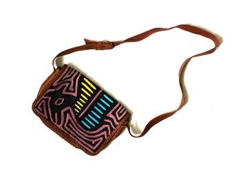 vintage purse handbag 90s boho 1990's mola print leather hippie bohemian accessories