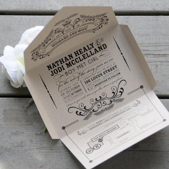Wedding Invitations Eco Friendly: Kraft Self-mailer Wedding Invitation, Eco Friendly Quirky