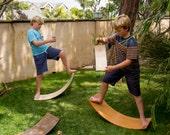 Curvy Board/ Waldorf Rocker Board Golden Oak Finish/ Red Sunburst
