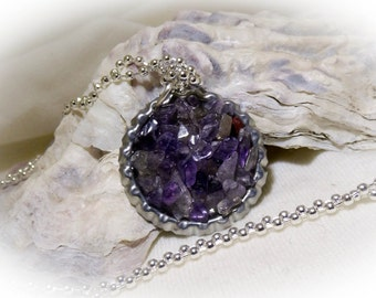Amethyst Chip Pebble Stone Bottle Cap 20 inch Necklace