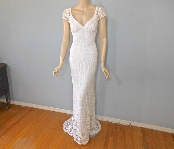 Hippie Boho WEDDING Dress Crochet Lace Wedding Dress Simple
