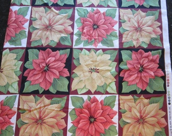 fabric - POINSETTIA block print - all cotton - Blank Textiles pattern 4916 - 44 inches wide