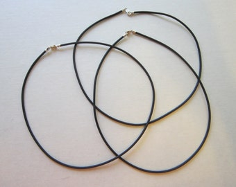 "rubber cord necklace with sterling silver clasp - 16"" - 2mm cord"