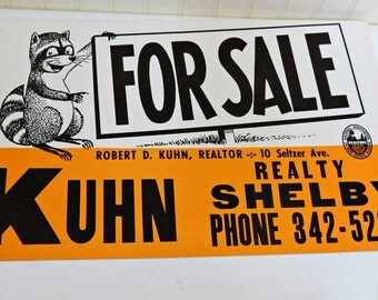 1960s For Sale Realty Cardboard Sign Screenprinted Kuhn Realty Shelby OH Raccoon Charming Man Cave Decor