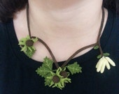 Nature Inspired Hazelnut and Green Leaves Necklace and Ring Set,Crochet necklace,hazelnut necklace,green necklace,