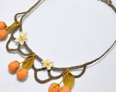Orange Creme Fruit Necklace,Crochet Necklac,Bridal Necklace,Orange Necklace,Crochet Jewelry ,Sandy Brown,Chocolate,Yellow,Statement Necklace