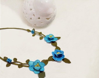 Blue Roses Necklace, Blue Crochet Necklace, Floral Necklace, Aquamarine Necklace,Sapphire Necklace,Statement Necklace, Wedding Necklace,bib