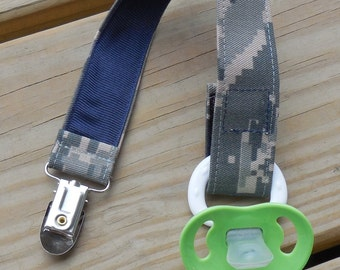 Air Force Baby Military Baby Pacifier Holder US Air Force ABU Fabric Pacifier Holder Binky Clip