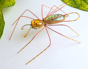 Flying Mystical Spider in Fall Colors Large Copper Wire Art Spider Unique Gift for Bug Lovers Gift of Spring Birthday Gift