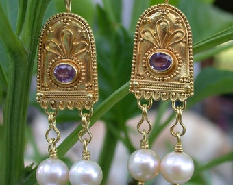 Pink sapphire earrings, 22k gold granulation