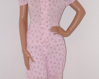 Vintage Pajama Set / 80s 90s Pink Cotton Seersucker Daisy and Polka Dot Print PJ Top with Cutout Shoulders and Pants / Lounging Pajamas