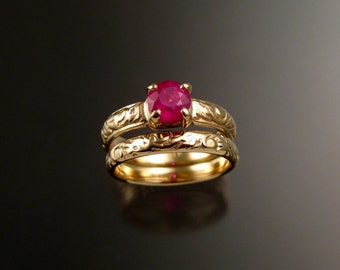 Ruby Wedding ring set 14k Yellow Gold ring made to order in your size Victorian floral pattern band Engagement rings